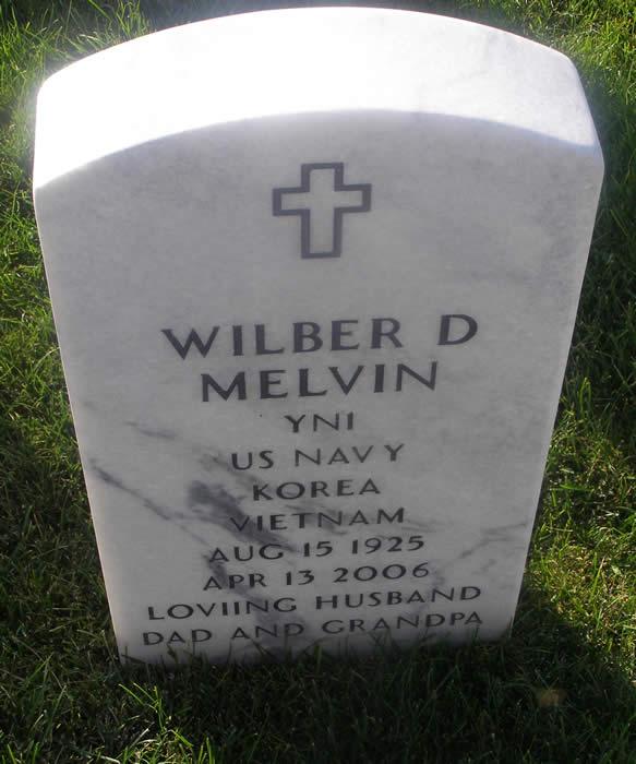 Grave Marker for Wilber Dean Melvin