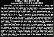Leslie Somers Robinson was CO of USS TUNNY (SS-282) vice USS TUNNY (SSG-282).